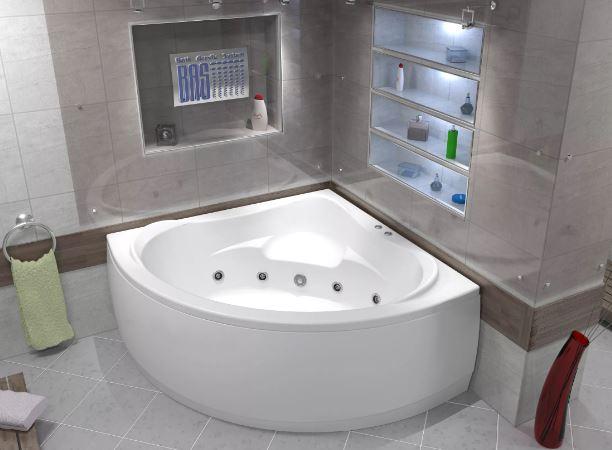 Симметричная угловая акриловая гидромассажная ванна МЕГА (MEGA) 160х160 см