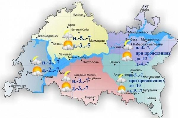 Синоптики Татарстана обещают небольшой снег иумеренный ветер