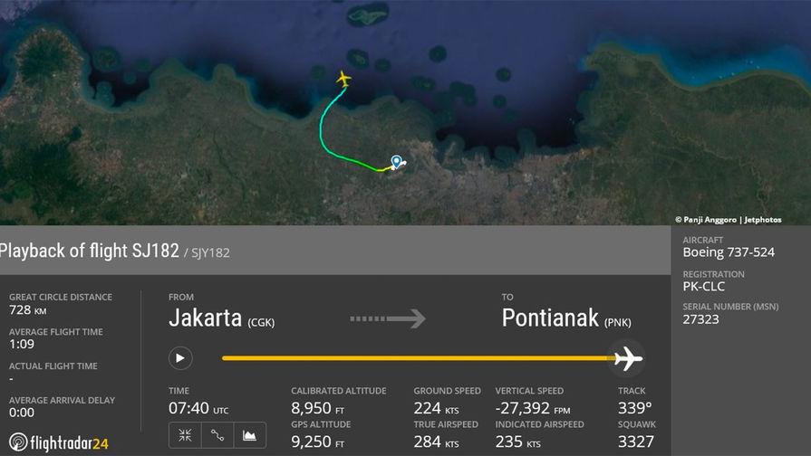 В Индонезии начали поисковую операцию после пропажи самолета Sriwijaya Air