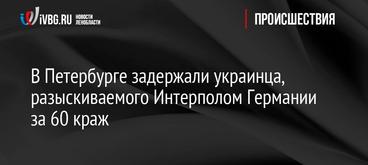 ВПетербурге задержали украинца, разыскиваемого Интерполом Германии за60краж