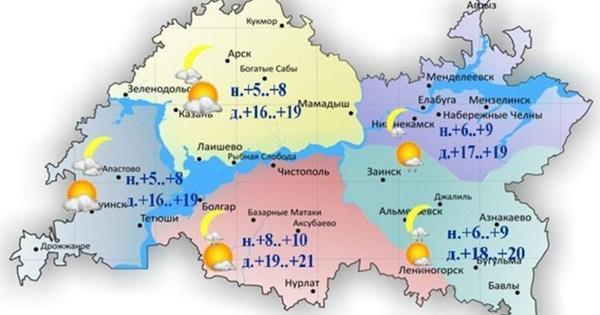 Впервый день лета вТатарстане ожидается небольшой дождь идо+21градуса
